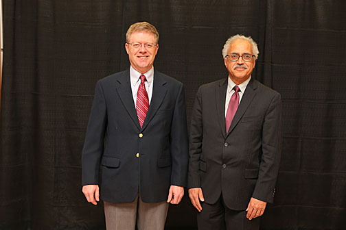 Outstanding Researcher Awards went to Dr. Tim Fisher, left, and Dr. Abdollah Afjeh.