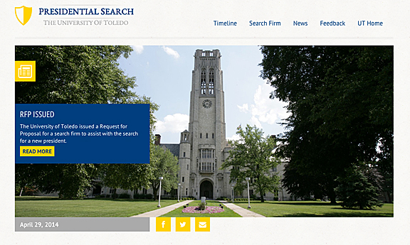 web presidential search page screenshot