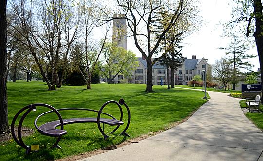 """Purple Whisper Bench"" by Jim Gallucci sits north of Libbey Hall."