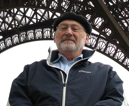 Dr. Paul Brand beneath the Eiffel Tower in Paris in 2008