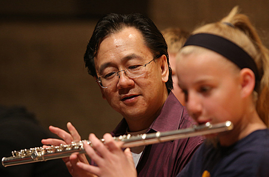 Joel Tse is leading a summer workshop for young flute players.