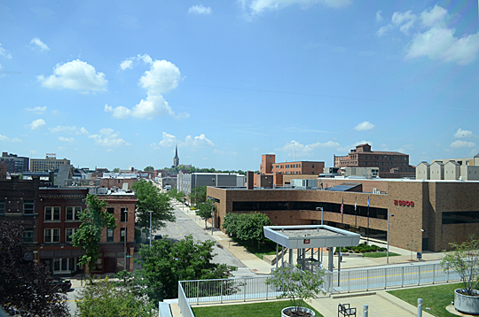University Photographer Intern Crystal Hand took this shot from the rooftop of the Toledo-Lucas County Public Library Main Branch, which will be explored during the July 24 downtown walking tour.