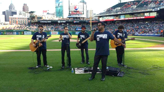 The Infatuations played at Comerica Park last month.