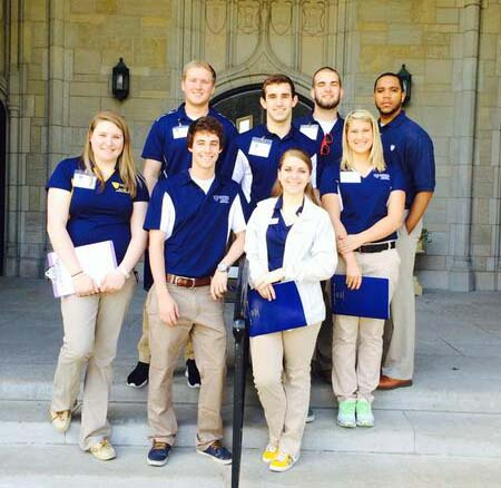 Admission Ambassadors posed for a photo in front of University Hall.