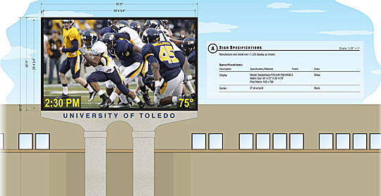A new video board and sound system should be installed in the Glass Bowl in time for the season opener Saturday, Aug. 30.