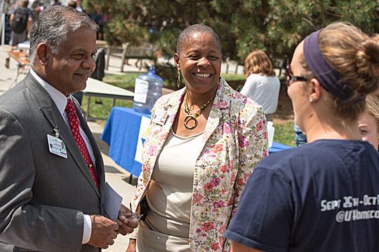 Interim President Nagi Naganathan and Senior Vice President for Student Affairs Kaye Patten Wallace talked with students recently on Centennial Mall.
