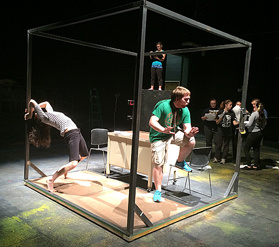 """UT theatre alumna Elif Erturk, who plays Daisy, and theatre student Tyler Mitchell, who has the role of Mr. Zero, rehearsed a scene from the UT production of Elmer Rice's """"The Adding Machine."""""""
