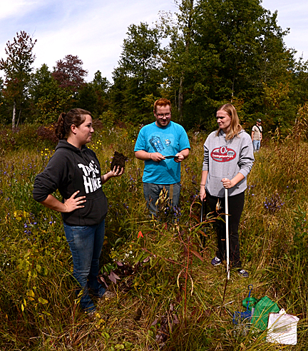 Corinne Whewell showed lab mates Jesse Baum and Holly Hutchison a plug of rich, wet soil at Kitty Todd Nature Preserve. Environmental science students are collecting data from nature preserves in the Oak Openings region to offer advice on future land management.
