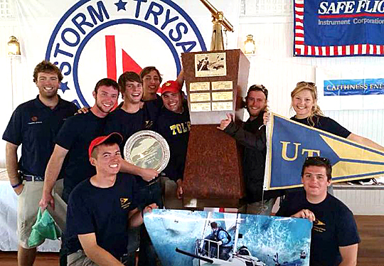 Members of the UT Sailing Club posed for a photo after winning the Intercollegiate Offshore Regatta.