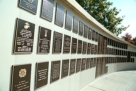 Plaques in Veterans' Plaza recognize military men and women for their service and sacrifice for the United States.