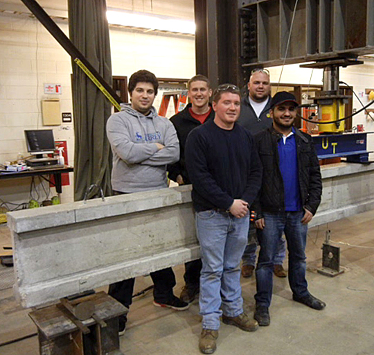 Construction engineering technology students, from left, Owjan Hashtroodi, Richard Crace, John Morganstern, Kyle Corbin and Khalid Al-Fahim placed second  in the nation in the Precast/Prestressed Concrete Institute's Big Beam Competition.