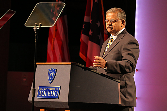 Dr. Nagi G. Naganathan's State of the University address featured video clips that shared voices of students, faculty, staff, alumni and local leaders.