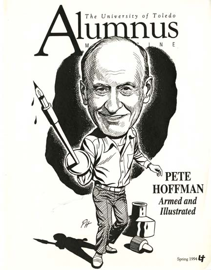 Pete Hoffman drew this self-portrait for the cover of a 1994 issue of the UT Alumni Magazine.