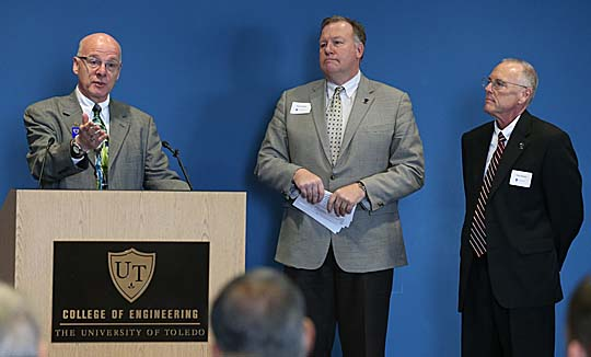 Dr. Steven LeBlanc, interim dean of the College of Engineering, introduced Bob Howell, CEO-elect of the SSOE Group, center, and Tony Damon, CEO and president of SSOE, who announced the Toledo company's gift to support UT's Engineering Technopreneurship Initiative.