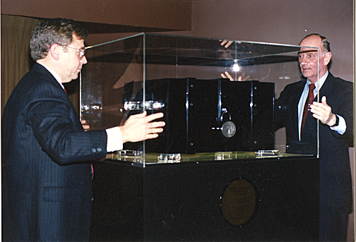 Dr. William Davis, now director of the UT General Practice Residency Program and associate dean of continuing medical education, left, and Dr. Richard Ruppert, then president of MCO, sealed a time capsule Dec. 14, 1989.