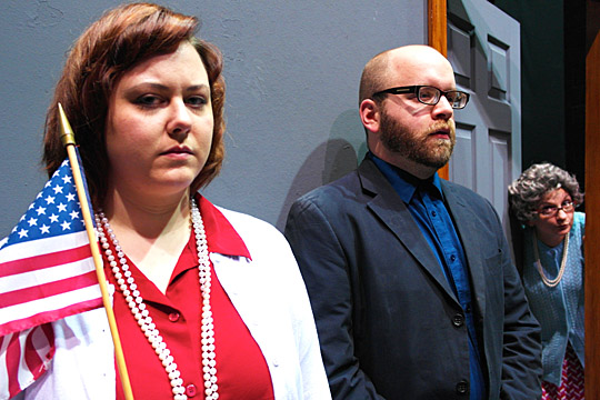"Lynnette Bates, left, plays Mommy, William Toth is Daddy, and Jennifer Nagy Lake is Grandma in the Glacity Theatre Collective's performances of Edward Albee's ""The American Dream"" and ""The Sandbox."""