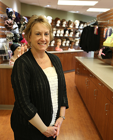 Renee Schick posed for a photo in Renee's Survivor Shop, which is located on the first floor of the Eleanor N. Dana Cancer Center. A grand opening will be held Thursday, Jan. 15.