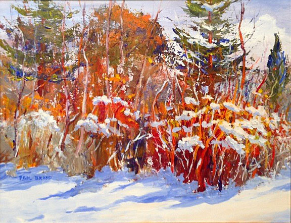 """Winter in the Garden,"" acrylic, by Dr. Paul Brand, associate professor emeritus of physiology and pharmacology"
