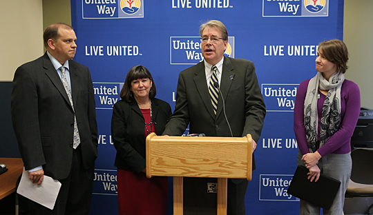 Dr. Gary Insch, dean of the College of Business and Innovation, spoke to the media about the Free Tax Preparation Program with, from left, Lucas County Treasurer Wade Kapszukiewicz, Lucas County Commissioner Tina Skeldon Wozniak and United Way Program Manager of the Free Tax Preparation Program Toni Shoola.