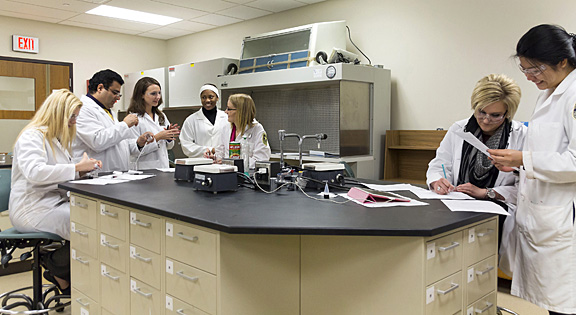 Preparing for a practical last semester were, from left, Alison Wery, Nader Rouholfada, Dr. Gabriella Baki, Kayla Banks, Sarah Breen, Hillary Phillis and Mei Chen.
