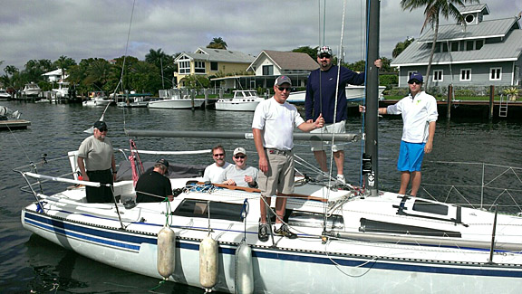 The Holy Toledo! crew, from left, Clif Vaughan, Tom Andrews, Al Newell, Steve Morrow, George Sipel, Daniel Miller and Luke Gossman leave the docks of the Ft. Lauderdale Yacht Club for the start of the Ft. Lauderdale to Key West Race Jan. 14.