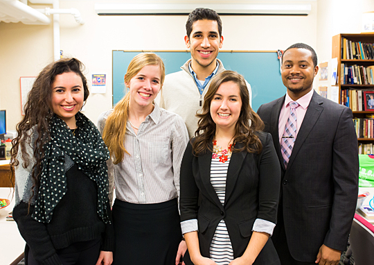 UT students, from left, Merna Naji, Kaitlyn Opperman, Mahbod Pourriahi, Abigail Dudek and Nehemiah Scott will travel to Dubai over spring break to participate in the Hult Prize Competition.