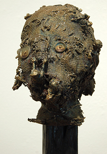 """""""Forlorn,"""" bronze, wood and acrylic, by Janelle Watkins"""