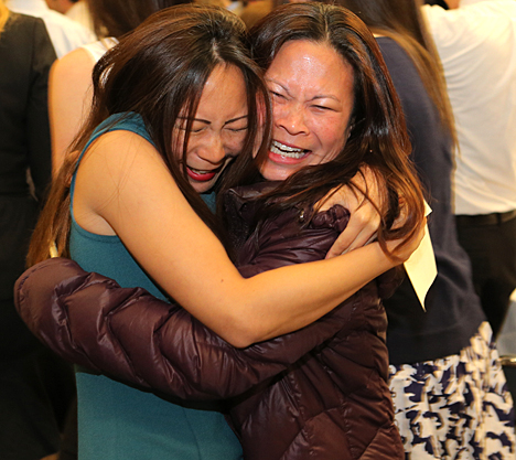 Jessica Chang, left, received a big hug from her sister, Cheryl Chang, at Match Day after she learned she's heading to the UCLA Medical Center in Los Angeles for a plastic surgery residency.