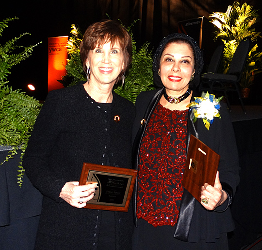 Sharon Speyer, left, and Dr. Iman Mohamed were all smiles after receiving awards earlier this month at the YWCA Milestones: A Tribute to Women.