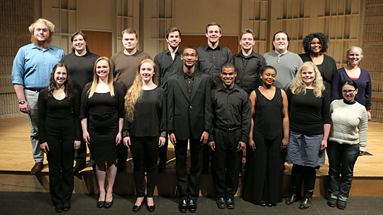 """UT Opera Ensemble members performing Puccini's """"Gianni Schicchi"""" are, front row, from left, Anne Valade, Lauren Kerr, Meridian Prall, Julian Vaughn (stage manager), Alex Marcano, Sonjia Fry, Lena Miller and Andreea Lee (accompanist); and back row from left, John Pearse (orchestra director), Nadia Oselsky, Kyle Trek, Spencer Wilhelm, William Floss, Mike Vanderpool, Devon Desmond, Nnenne Edeh and Dr. Denise Ritter Bernardini (UT Opera Ensemble director)."""