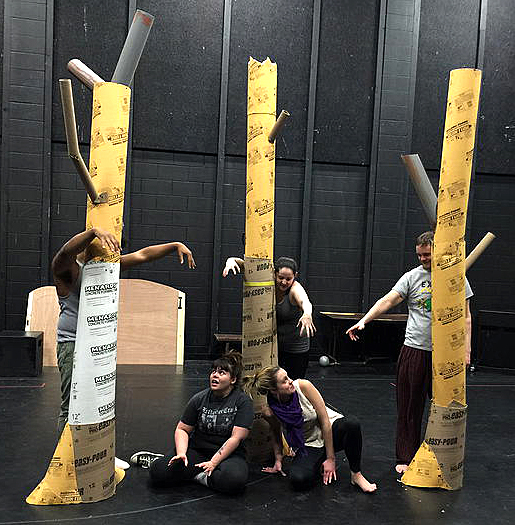 "Students rehearsed a scene from ""The Immortals,"" which will feature puppetry and masks created by Erica Frank, UT lecturer in theatre."