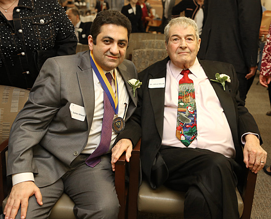 Dr. Samer Khouri, left, posed for a photo with Alfred Mundt, local restaurateur and longtime MCO/UT benefactor. Khouri received the Adela and Alfred Mundt Endowed Professorship in Transplantation Cardiology.