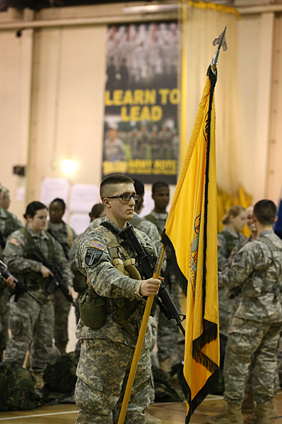 Cadet Pvt. Marcus Masello, a freshman majoring in information technology, held the Rocket Battalion colors during a recent training exercise on platoon movement.