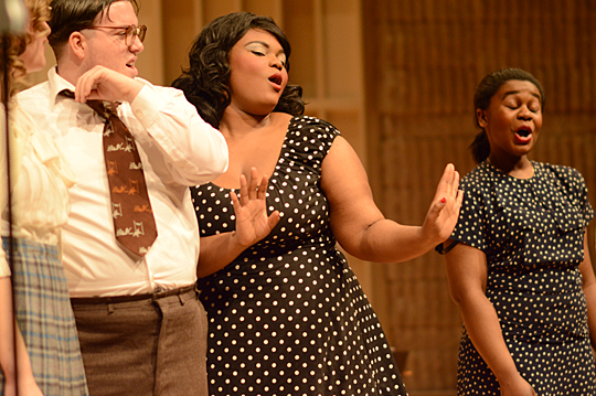 "Rehearsing a scene from ""The Old Maid and The Thief"" were, from left, UT Opera Ensemble members Devon Desmond (baritone), Nnenne Edeh (mezzo-soprano) and Sonjia Fry (soprano)."