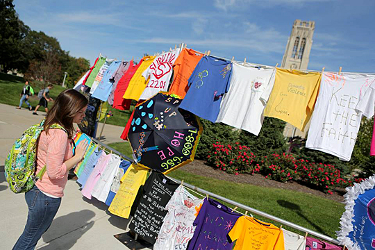 A student checked out the Clothesline Project last year on Main Campus.