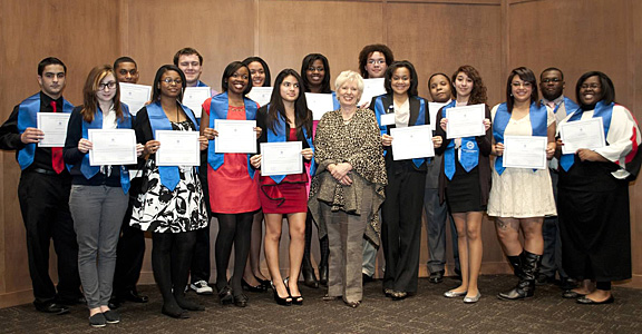 Justice Judith Ann Lanzinger of the Supreme Court of Ohio, a 1977 alumna of the UT College of Law, posed for a photo with students who graduated from the Law and Leadership Institute at the University.
