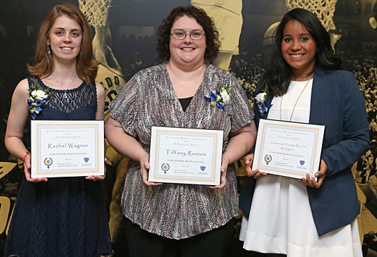 Receiving $1,000 scholarships from the University Women's Commission were, from left, Rachel Wagner, Tiffany Runion and Grisoranyel Yoselyn Barrios Rodriguez.
