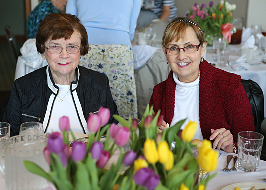 Pat Windham, who was the first president of the Satellites Auxiliary and now a board member of the organization, left, and Teresa Puglisi, corresponding secretary for the auxiliary's advisory board, were among many volunteers who attended the luncheon.