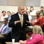 Dr. Clint Longenecker, Stranahan Professor of Management, talked to students attending the Advanced Leadership Academy.