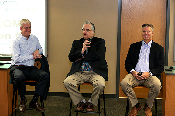 Community leaders participating in a panel discussion during the last class were, from left, Steven Cavanaugh, executive vice president and chief operating officer of HCR ManorCare Inc.; Joseph Zerbey, president and general manager for The Blade and chair of the UT Board of Trustees; and Michael Miller, CEO of Waterford Bank Ltd.