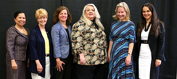 The Outstanding Teacher Awards went to, from left, Dr. Celia Williamson, Dr. Sue Wambold, Dr. Cyndee Gruden, Diane Marker, Dr. Melissa Gregory and Dr. Doina Chichernea.