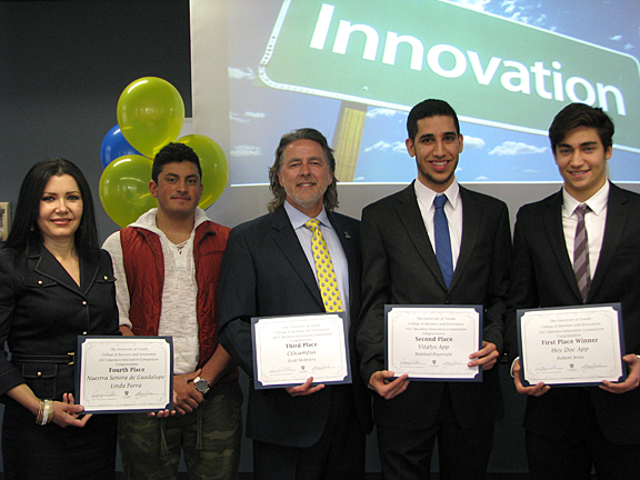 Winners of the fifth annual Business Innovation Competition were, from left, Linda Parra, Sulaiman Mustapha, a freshman majoring in bioengineering and a member of the third-place team, Scott McIntyre, Mahbod Pourriahi and Robert Ariss.