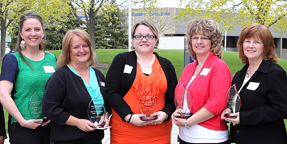 Taking home Outstanding Staff Awards last week were, from left, Elissa Falcone, Holly Helminski, Amanda Seabolt-Martin, Becky Roberts and Suzanne Martin.
