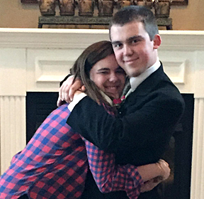 Jennifer Huffman, vice president of programs for Alpha Xi Delta, gave a hug to her brother, Thomas, before he left for the prom.