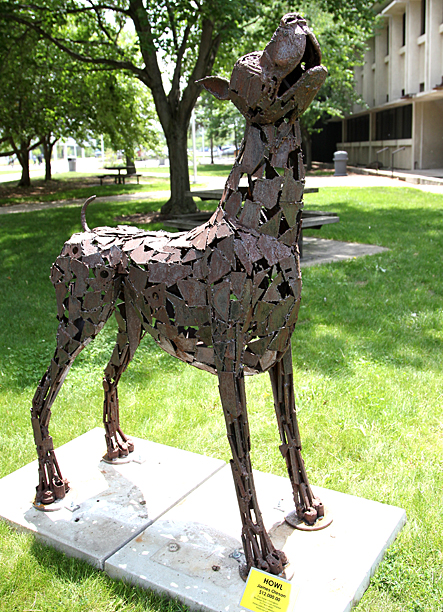 "James Oleson's ""Howl"" was installed May 29 near Nitschke Hall."