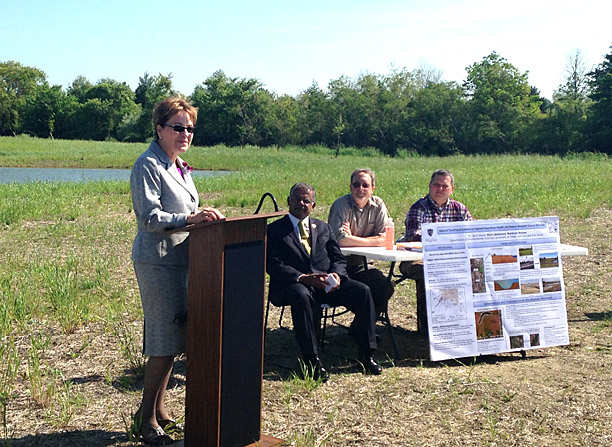 Congresswoman Marcy Kaptur spoke at a press conference to announce water quality improvements thanks to the Great Lakes Restoration Initiative Project as, from left, Interim UT President Nagi Naganathan, Dr. Daryl Dwyer and William Petruzzi of Hull & Associates Inc. listened.