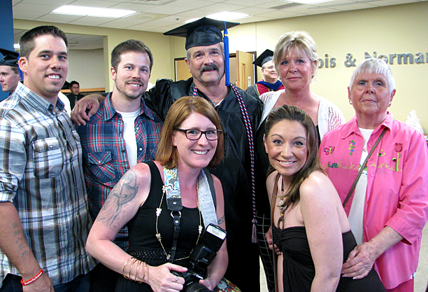 Michael Mack posed for a photo with his family, from left, sons Chad and Chase, wife, Dandy, mother-in-law, Nancy Doran, and daughters, Summer Leganik and Shayla Ferguson. The 59-year-old received an associate's degree in business in May.
