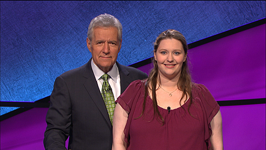 Alex Trebek and Dr. Erin Saelzler posed for a photo on the set of the game show.