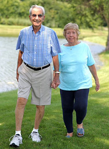 Robert and Sharon Gayer took a walk at their home last month. Robert had the first percutaneous closure of a mitral paravalvular leak at UT Medical Center in May.