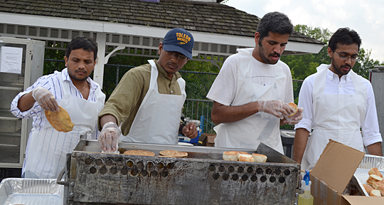 Preparing paratha, an Indian flatbread, at the Festival of India earlier this month were, from left, Roshan Kini, volunteer; Sai Kumar Naini, panel member, graduate vice president and webmaster for the Indian Student Cultural Organization; Narendra Raghav Venkatesan, volunteer); and Krishnakant Patel, president of the Indian Student Cultural Organization.